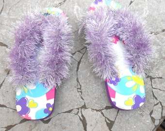 Girls Flip Flops - Decorated Flip Flops - Purple Silver Flip flops - Handmade Flip Flops - Size 11/12 - Free US Shipping