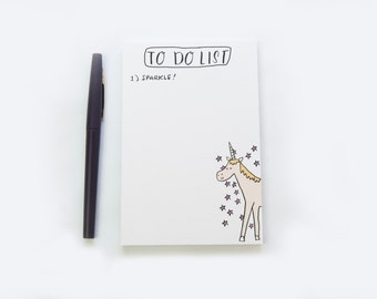 To Do List, Notepad, Unicorn Notepad, Unicorn