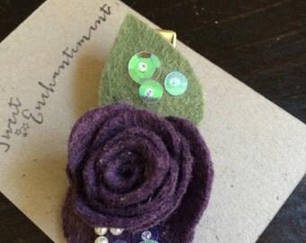 Enchanting Wool Felt Flower Hair Clip