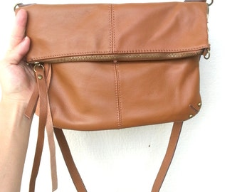 Tan Leather Fold-Over Adjustable Clutch Crossbody