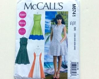 McCall's M6741 Women's Dress Pattern, Easy Petite Plus, Summer Dress Pattern, Uncut Pattern, Size 18W, 20W, 22W, 24W