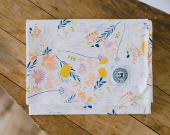 Stretch Swaddle Blanket - desert floral, peach, yellow, white, gender neutral, cotton jersey, newborn gift, receiving blanket
