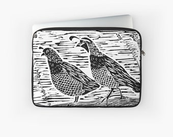Pair of Quail Laptop Sleeve - Laptop sleeve for Macbook Air, Macbook Pro, with Oregon quail blockprint