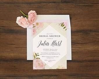 Gold Foil Bridal Shower Invitation  \\ REAL METALLIC FOIL \\ Gold, Silver, Black, or Rose Gold
