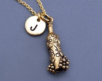 Wine bottle necklace, gold wine bottle charm jewelry, Personalized wine bottle charm, initial necklace, personalized, monogram