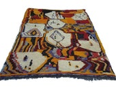 "118""X79"" Handmade Multicolor & Ivory moroccan rug Beni Ouarain 100% Wool"