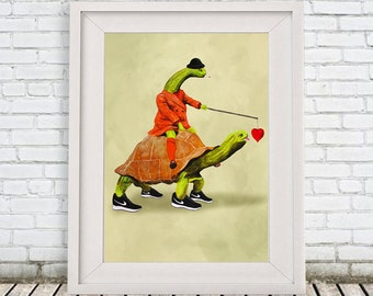 Turtle Print, digital turtle poster, turtle art, love print, nike shoes, turtle art print by Coco de Paris: Turtle Love