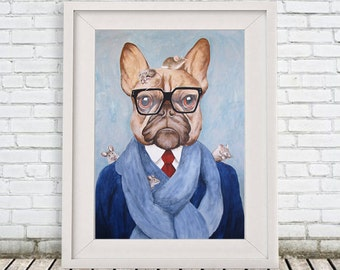 "French Bulldog Art Print of original Acrylic Painting ""Bulldog with Mice"", Mouse Print,  Illustration,wall art wall decor, mouse artwork"
