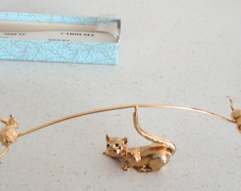GOLDTONE Cat And Mouse Carousel Paper Weight Rhinestone Eyes 1960