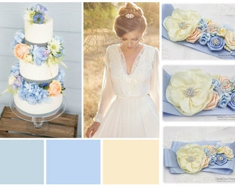 Wedding Sash Bridal Jeweled Flower Sash Custom Belt in Serenity Blue, Powder Blue, Blush Pink, Ivory with Brooches, Handmade Flowers