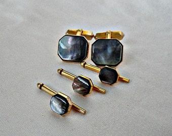 Vintage Abalone Swank Cufflink w Stud Set, Tuxedo Abalone Shell Set, Swank Retro Cufflinks, Gold finish Swank Cufflink Set