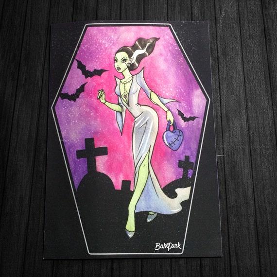 Frankenstein Bride-tattooed-Goth-Vampire-Horror-Giclee Print - Fan Art