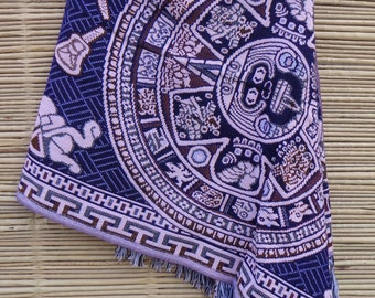 Mexican Rebozo Shawl Accessories from Mexico with Aztec Calendar Pattern Woven