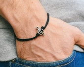 Treble clef bracelet for men, men's bracelet, silver music note charm, black cords, gift for him, musician bracelet, g clef, mens jewelry