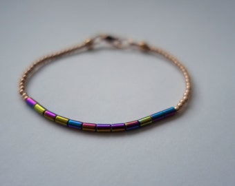 Rainbow Colored Hematite and Rose Gold Bracelet, Skinny Beaded Bracelet, Rose Gold Filled and Plated Sterling Silver, 2mm