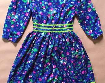 1980s pretty baby day dress | painted flowers lime striped dress