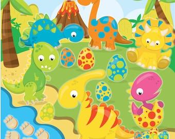 dinosaur clipart commercial use, dinosaurs vector graphics, prehistoric digital clip art, digital images  - CL969