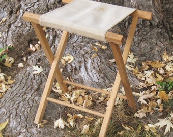 Vintage Camping Stool Wood Canvas Camp Stool