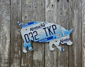 Upcycled Kentucky License Plate Pig - More States Available