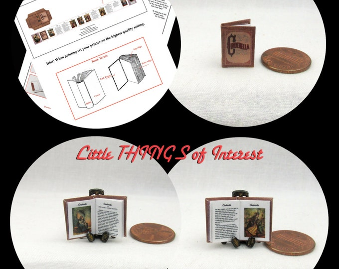 CINDERELLA Book Kit PDF for 1:12 Miniature Dollhouse Scale Miniature DIY Kit Accessory Prince Charming Disney
