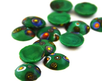 12 x Vintage Green Glass Millefiori Cabochons (6 pairs)
