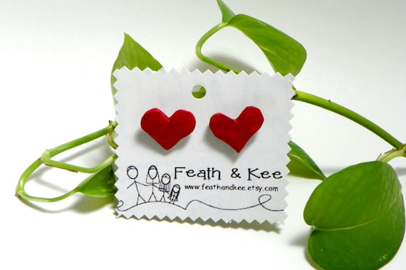 Red Wooden Heart Earrings from Feath and Kee
