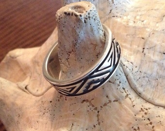 Sterling Silver Native American Inspired Band (st - 1492)
