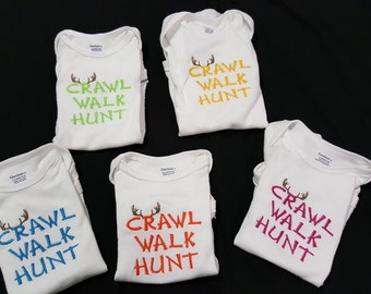 Crawl Walk Hunt Embroidered Bodysuit