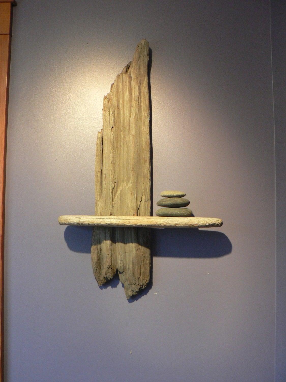 Zen retreat decor driftwood shelf driftwood art gift idea for Driftwood wall shelves