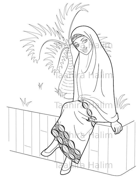 Muslim Hijabi Coloring Book Page Digital Download - Muslimah Lady and a Bottle Palm Tree