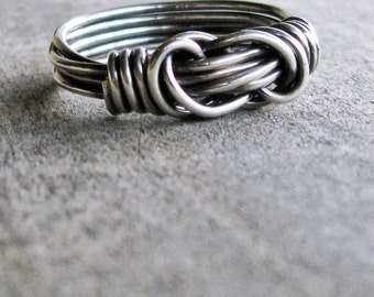 Men's Knot Ring, double knot ring, infinity knot ring, silver knot ring, couple ring, gift for boyfriend, gift for him