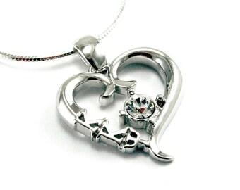 Kappa Kappa Psi Sterling Silver Heart Pendant with a Swarovski Clear Crystal