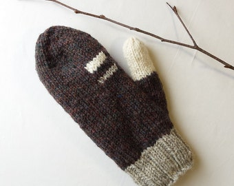 Wool mittens, men mittens women mittens, winter accessories hand knit, Canadian wool, brown