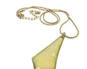 Brass Necklace with Circuit Pendant -t'pol-  printed circuit board, PCB jewelry, motherboard