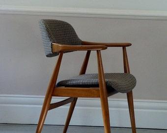 1950s Vintage European Tweed Chair