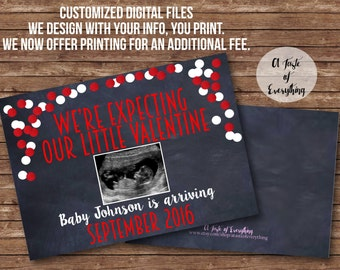 Valentine Sonogram DIGITAL FILES Weu0027re Expecting Our Little Valentine  Pregnancy Announcement Card Photo Prop