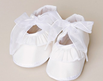 Cotton Ruffle Christening, Baptism or Blessing Slippers