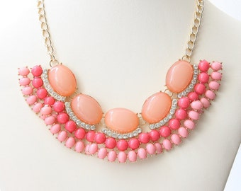 Party Necklace, Peachy Pink And Coral Color Necklace, Women's Jewelry, Bridal Necklace, Wedding Jewelry