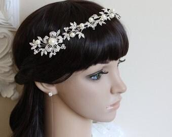 Bridal Hair Piece, Bridal Crown, Pearl Tiara, Crystal Tiara, Bridal Comb Tiara, Bridal Hair Accessories, Bridal Jewelry, Bridal Crown
