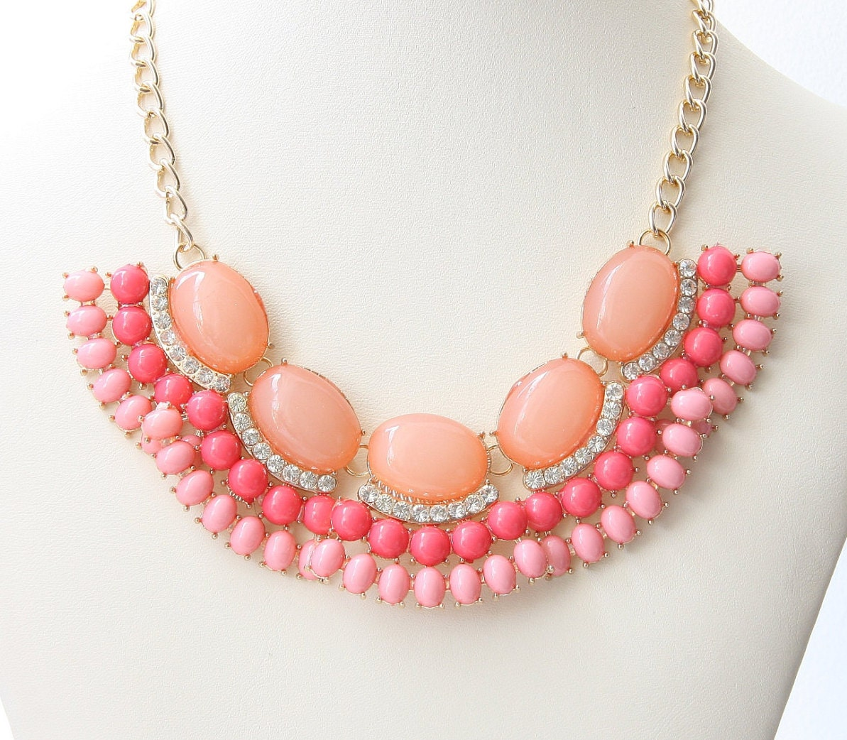 Party Necklace Peachy Pink And Coral Color By BridalCloset