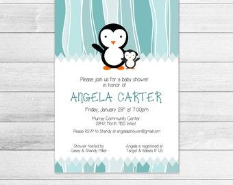 Penguin Baby Shower Invitation, Digital File, Gender Neutral