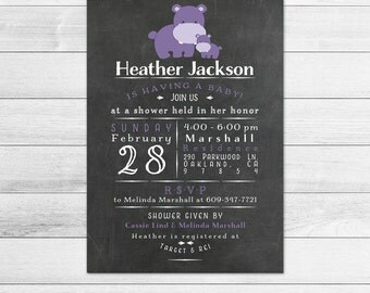 Chalkboard Hippo Baby Shower Invitation, Girl Digital Printable Invite Subway Style, Purple