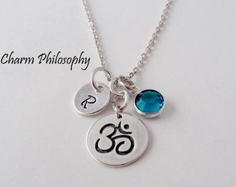 Om Necklace - Sanskrit Aum Charm - 925 Sterling Silver Jewelry - Birthstone Bead and Initial