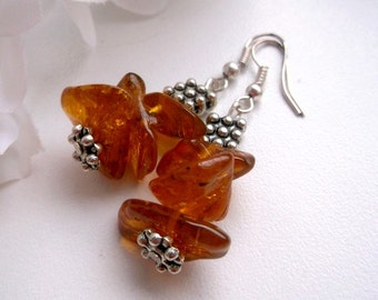 Amber chips dangle Amber earrings amber silver dangle Baltic amber honey earrings dangling earrings rustic amber honey dangle earrings gift