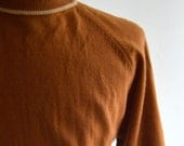 Vintage 60s Rusty Brown Short Sleeved Knit by Cranbrook Size Medium