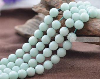 Grade AB Natural Amazonite Beads NOT Dyed 6mm 8mm 10mm Smooth Polished Round 15 Inch Strand AM05