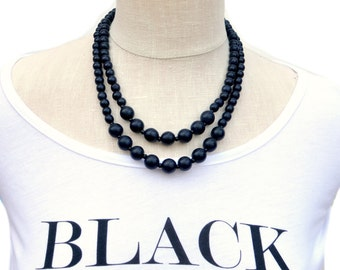 black bead necklace / black beaded necklace / black statement necklace / black wood bead necklace / black bridesmaid necklace / 2 strand