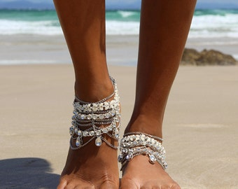 Silver Barefoot Sandals with silver chains, for boho brides and Beach Brides, Style: Stevie Barefoot Sandals in SILVER