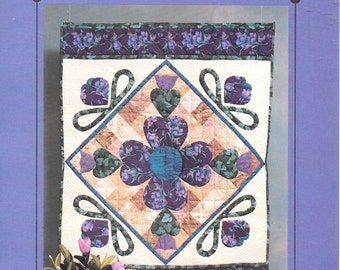 The Patchwork Collection Blooming Hearts Wallhanging Quilt Kit Cotton Quilting Fabric Full Size Pattern Rare Out of Print Purple Floral