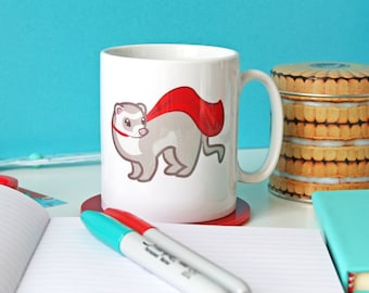Ferret Mug, Ferret Cup, Ferret Gifts, Cute Mugs, Ceramic Mug, Tea cup, Coffee mug, Home and living